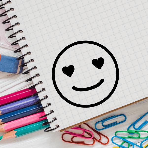 Love Emoji Teacher Craft Stamp Imprint Example