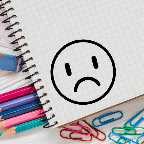 Sad Face Emoji Teacher Craft Stamp Imprint Example