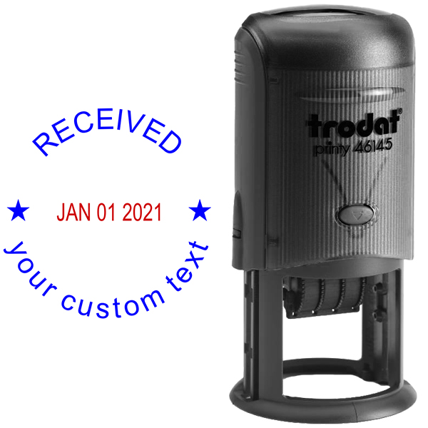 Custom Received Round Dater Stamp Body and Design