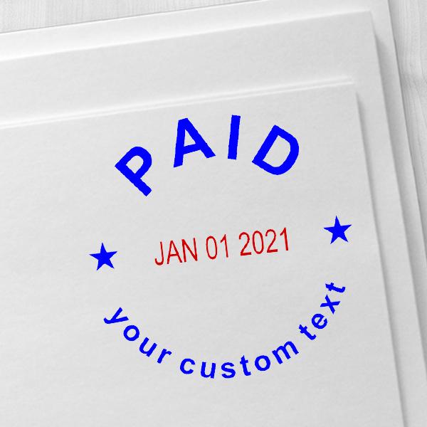 Custom Paid Round Dater Stamp Imprint Example