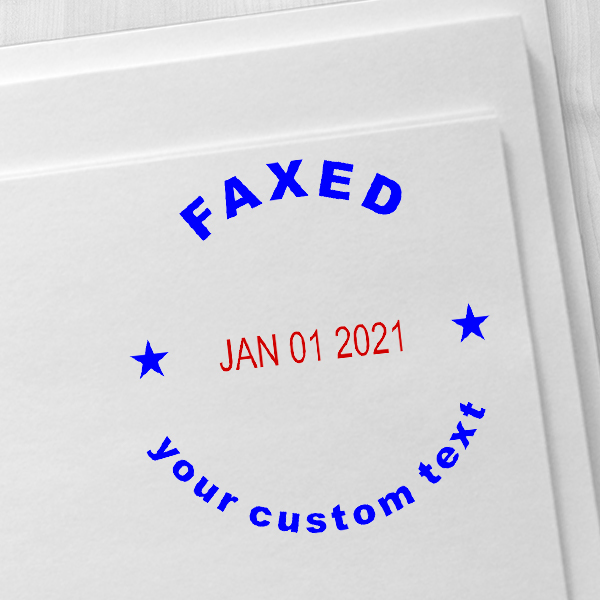 Custom Faxed Round Dater Stamp Imprint Example