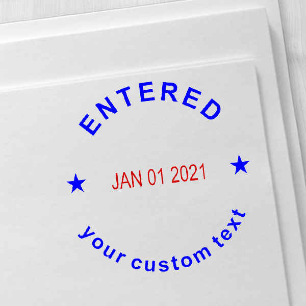 Custom Entered Round Dater Stamp Imprint Example