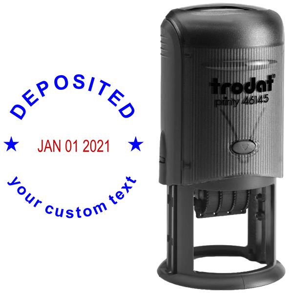Custom Deposited Round Dater Stamp Body and Design