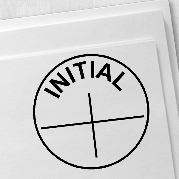 INITIAL Round Cross Rubber Stamp Imprint Example on Paper