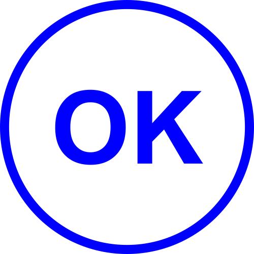 Round OK office stamp