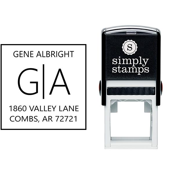Split Monogram Address Stamp Body and Design