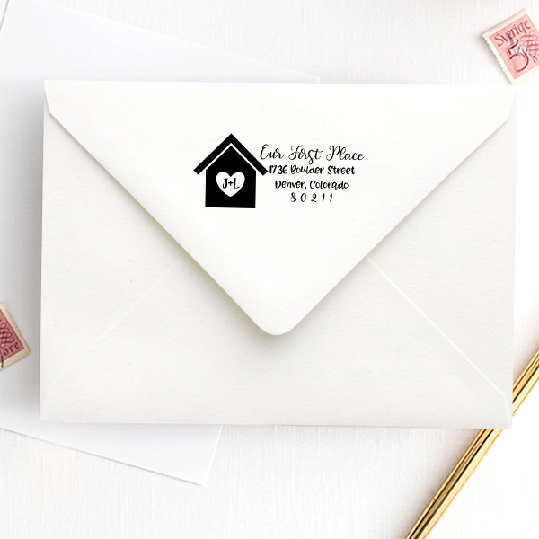 Custom Our First Place Craft Stamp Imprint Example
