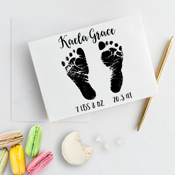 Custom Baby Footprints Craft Stamp Imprint Example