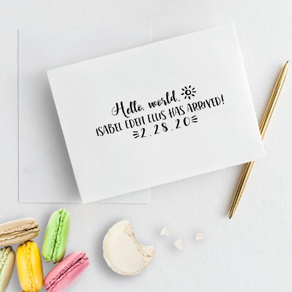 Custom Hello World Baby Announcement Craft Stamp Imprint Example