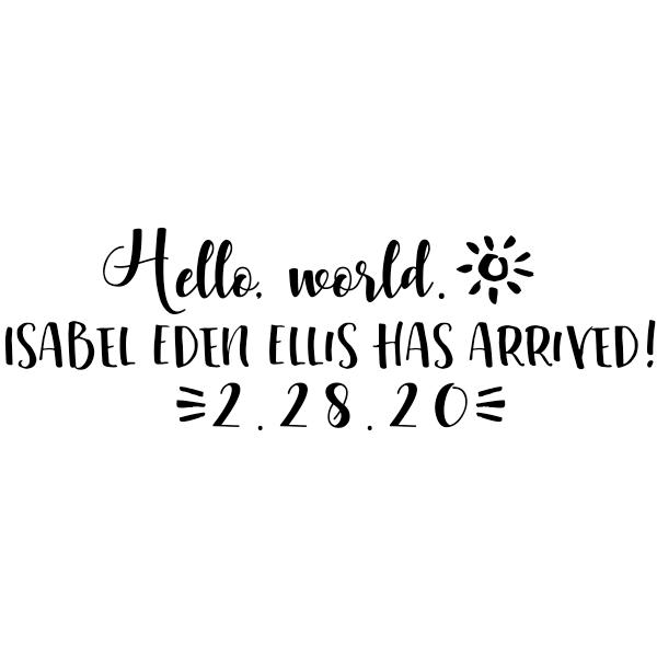 Custom Hello World Baby Announcement Craft Stamp