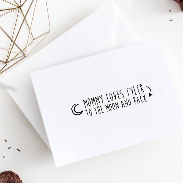 Custom Baby To The Moon & Back Craft Stamp Imprint Example