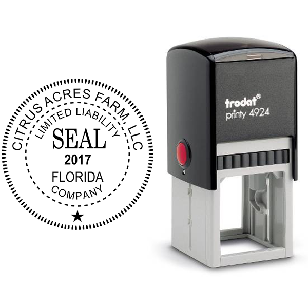 Limited Liability Company with Date Seal Rubber Stamp Body and Design