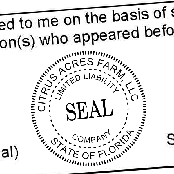 Limited Liability Company Seal Rubber Stamp Imprint Example