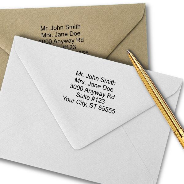 5 Line Stamp Imprint Examples on Envelopes