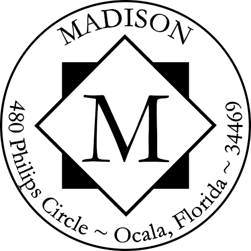 diamond round monogram address rubber stamp design