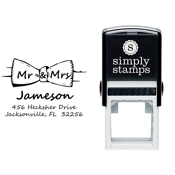 Bow Tie Mr. and Mrs. Custom Address Stamp Body and Imprint