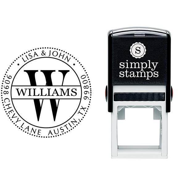 Williams Monogram Address Stamp Body and Imprint