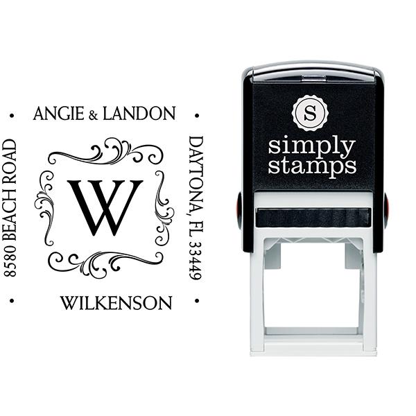 Angie Square Monogram Address Stamp Body and Imprint