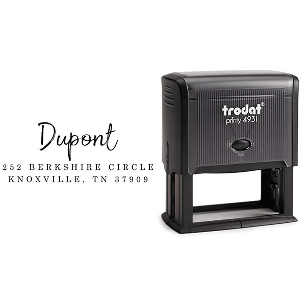 Dupont Brush Return Address Stamp Body and Design