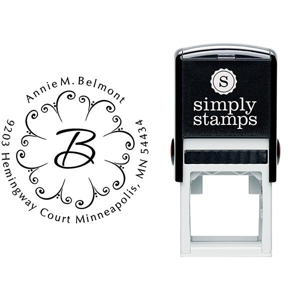 Fountain Design Monogram Address Stamp Body and Imprint