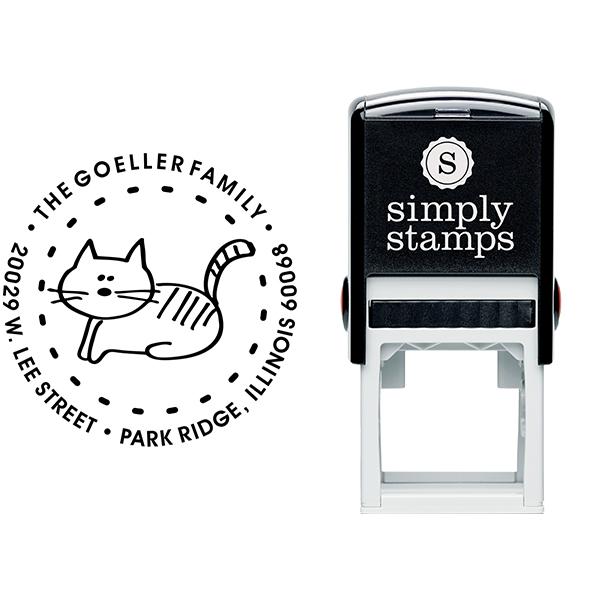 Kitty Round Address Stamp Body and Imprint