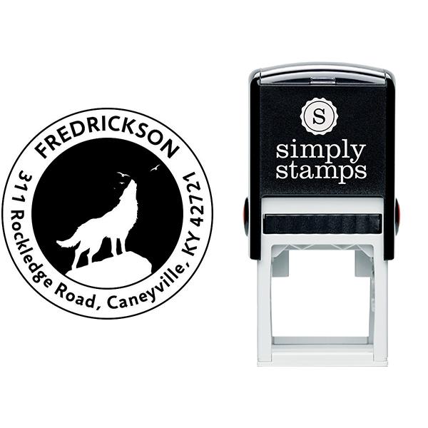 Howling Wolf Round Animal Return Address Stamp Body and Design