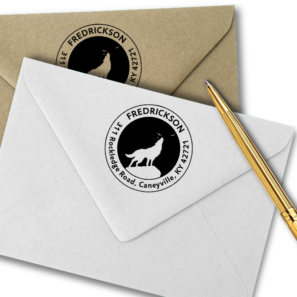 Howling Wolf Round Animal Return Address Stamp Imprint Example
