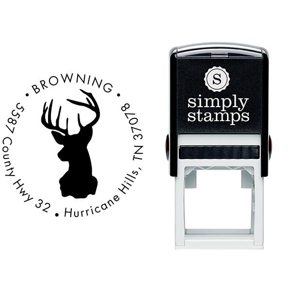 Deer Buck Round Animal Return Address Stamp Body and Design