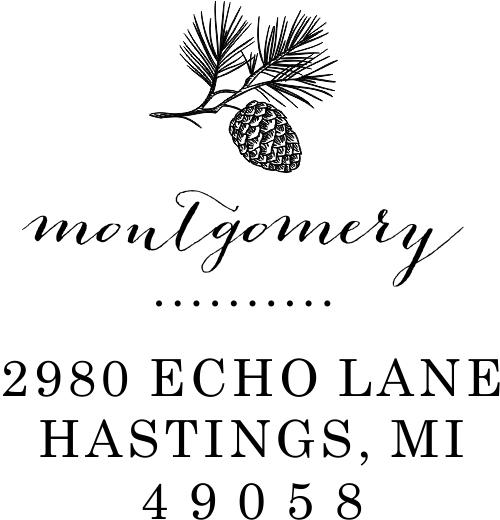 Montgomery Pine Winter Return Address Stamp