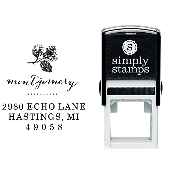 Montgomery Pine Winter Return Address Stamp Body and Design