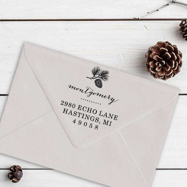 Montgomery Pine Winter Return Address Stamp Imprint Example