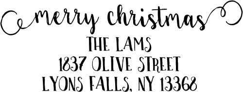 Merry Christmas Decorative Swirl Return Address Stamp