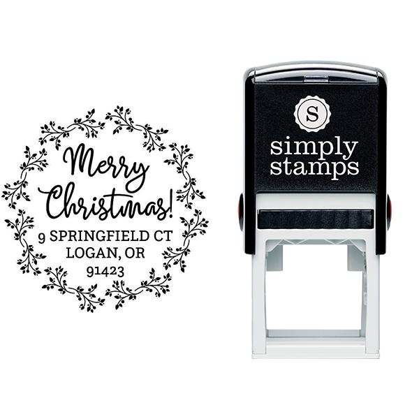 Christmas Wreath Round Return Address Stamp Body and Design