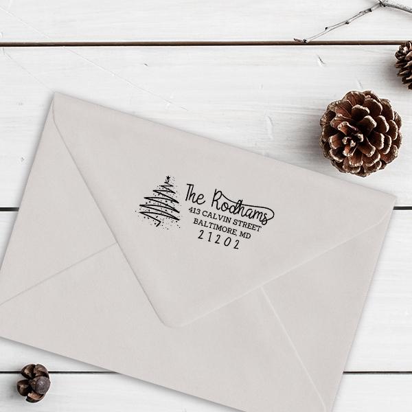 Rodham Script Christmas Tree Return Address Stamp Imprint Example
