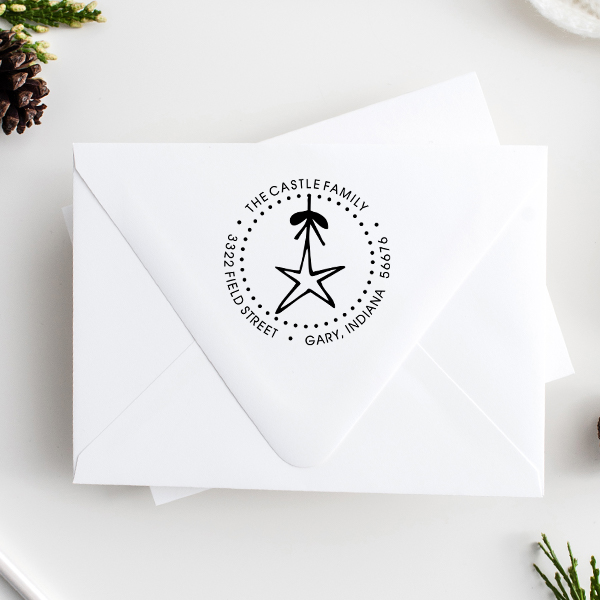 Holiday Star Christmas Ornament Address Stamp Imprint Examples on Envelopes