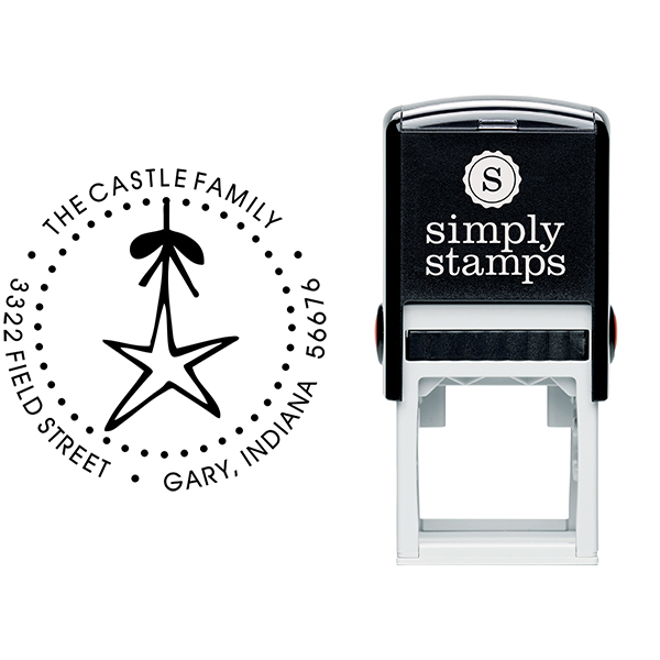 Holiday Star Christmas Ornament Address Stamp Body and Imprint