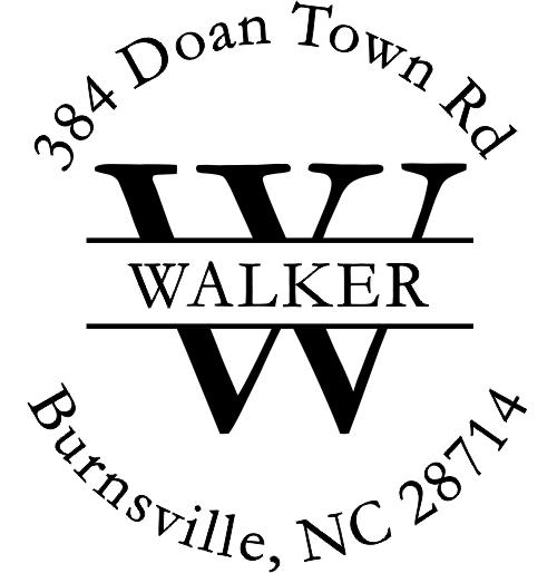 Walker Letter Return Address Stamp