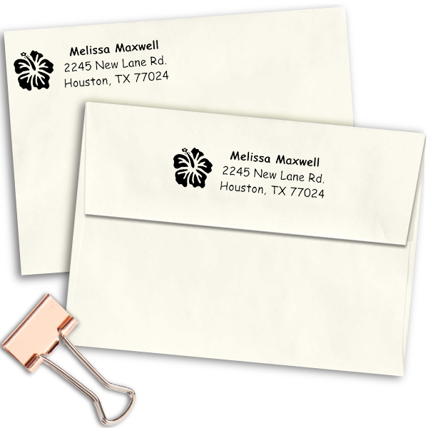Pretty Flower Address Stamp Imprint Examples on Envelopes
