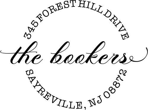 Forest Hill Script Round Address Stamp