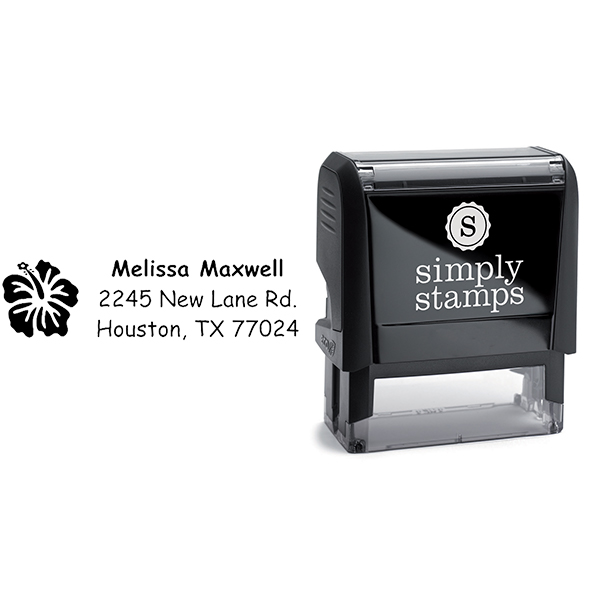 Pretty Flower Address Stamp Body and Imprint