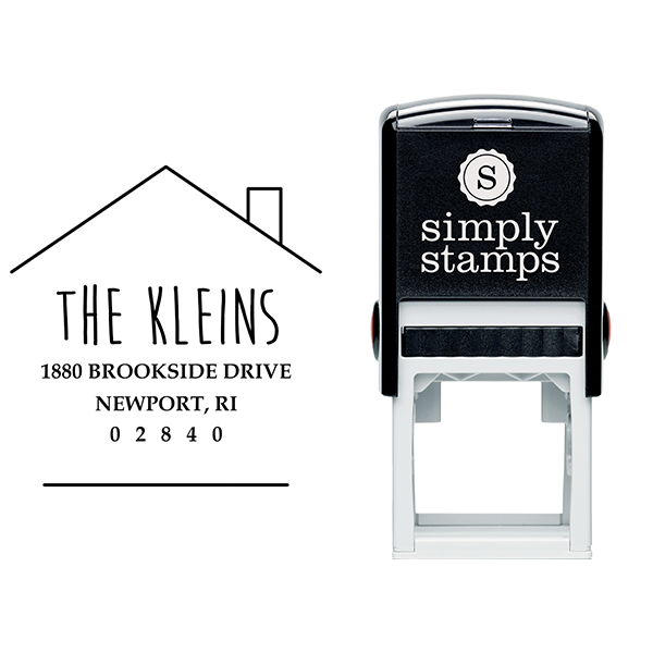Newport House Shaped Address Stamp Body and Design