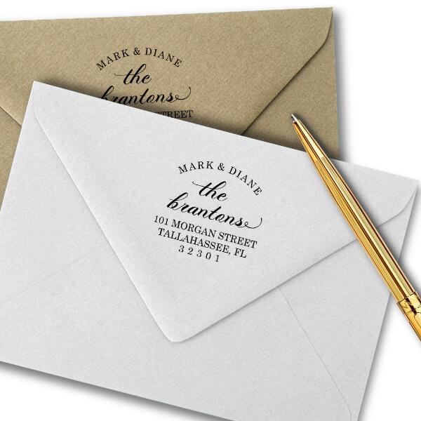 Branton Script Return Address Stamp Imprint Example