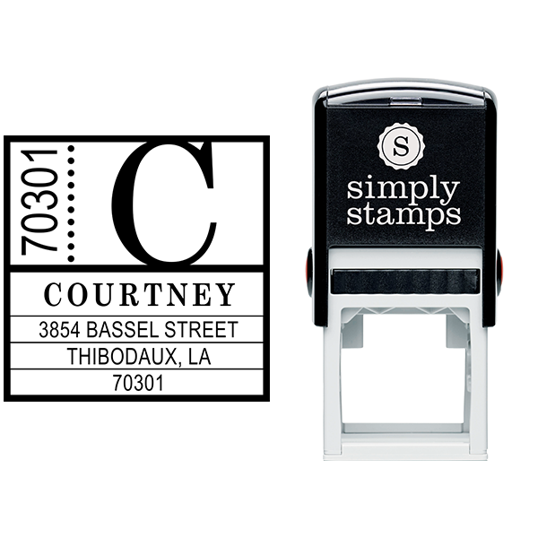 Courtney Contemporary Address Stamp Body and Design
