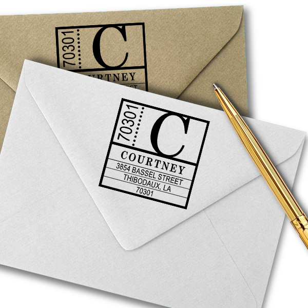 Courtney Contemporary Address Stamp Imprint Example