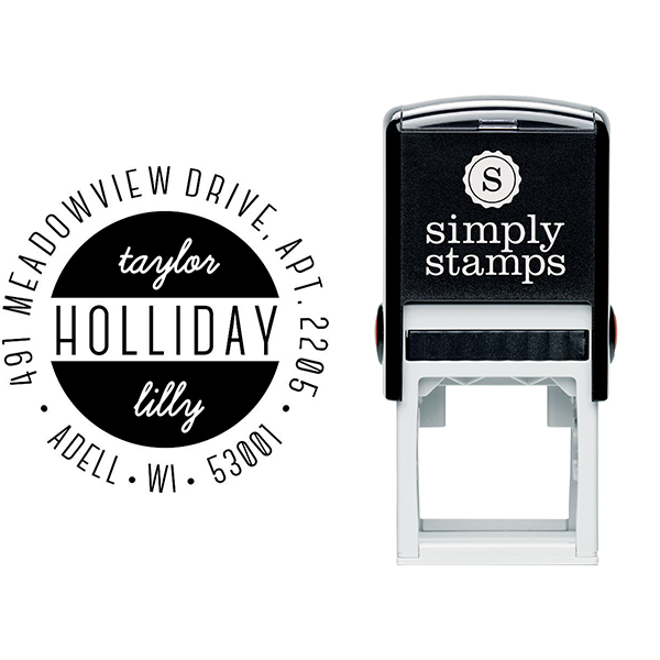 Holliday Round Return Address Stamp Body and Design