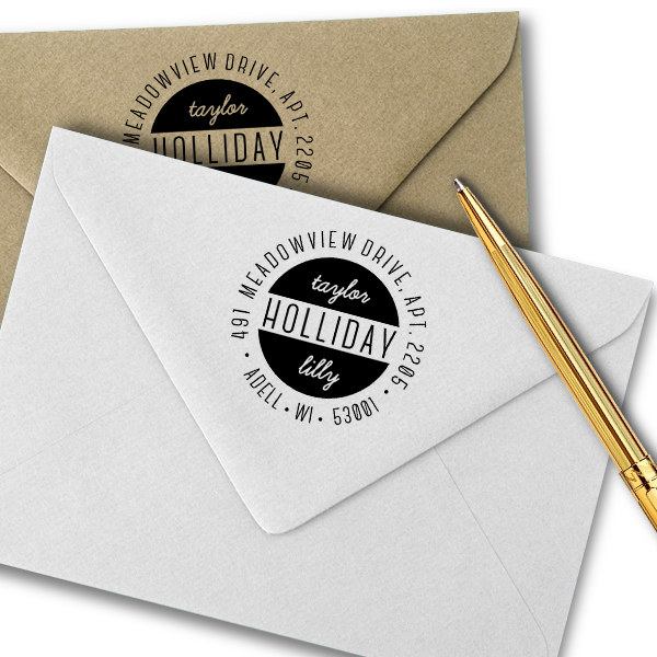 Holliday Round Return Address Stamp Imprint Example