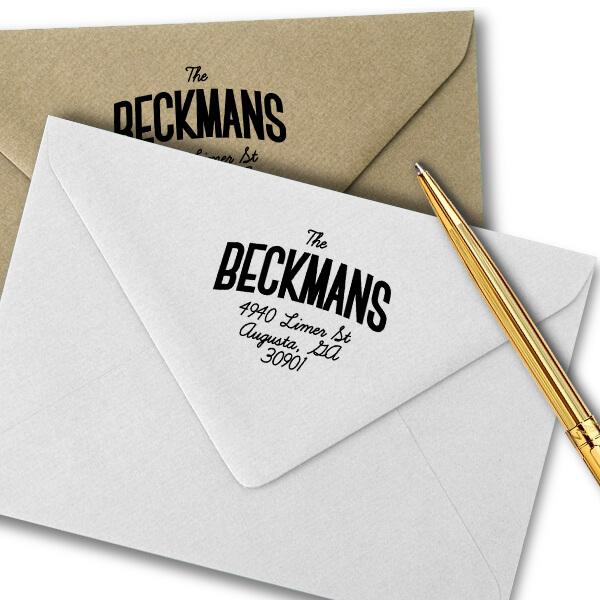 Beckman Banner Style Address Stamp Imprint Example