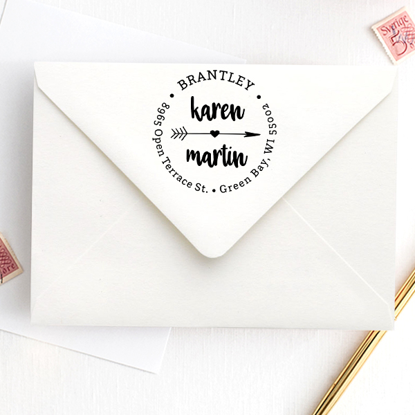 Lovers Arrow Trendy Address Stamp Imprint Example
