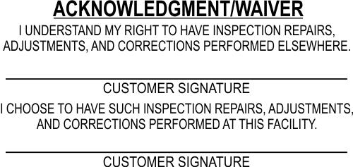 Inspection Repair Custom Acknowledgment Stamp