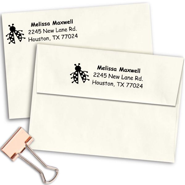 Ladybug Address Stamp Imprint Examples on Envelopes